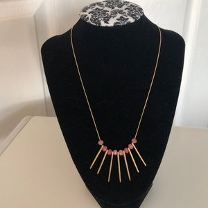 Gold and Pink Stones Necklace